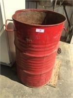 Metal Waste Barrel & Two Truck  Mud Flaps