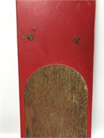 Pair of old red wood water skis, c. 1950's