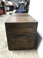 Old vintage handmade wooden chest trunk