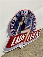 Vintage genuine Bud Light Beer Lady Luck sign