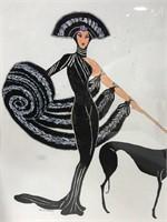 Original DE Stribley Art Deco woman & dog art