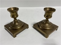 Pair of vintage square copper candlesticks
