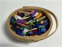 Huge lot of embroidery threads in wooden basket