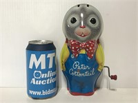 Vintage Mattel Peter Cottentail tin music toy