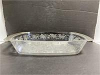 Large glass leaf design casserole baking dish