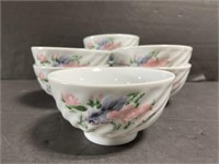 Lot of 8 small painted koi fish noodle bowls