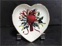 Lenox winter greetings cardinal heart shaped dish