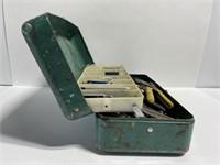 Vintage Victor green metal toolbox w/ tools