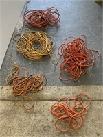 Lot of 5 extensions cords in milk crate