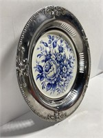 Silver plate w/ blue & white painted flowers