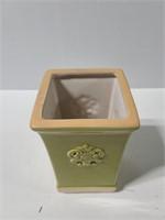 Ceramic green vase with ornate design