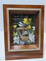 Angled shadowbox framed bird quote art