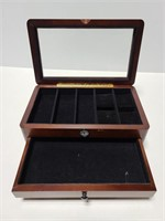 Glass top wood jewelry box with clock