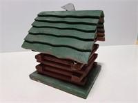 Wood log cabin bird house