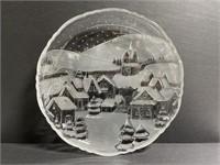 Crystal clear studios winter scene platter