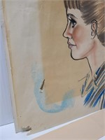 Signed side profile of a girl drawing