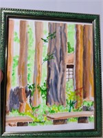 Framed watercolor print of trees and bench