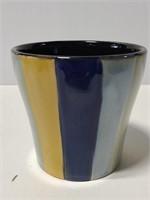 Striped pottery planter