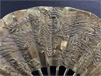 Hand painted Japanese geisha plate & gold fan