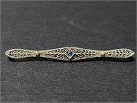 Vintage 14k pin with blue stone accent