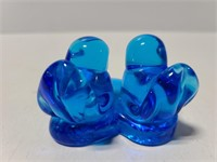 Blue glass two bird paper weight