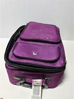 Purple chevron print luggage
