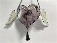 Metal winged heart tea-lite hanging decor