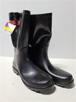 Pair of size 10 black rain boots with tags