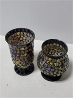 Pair of Mosaic candle holders or vases