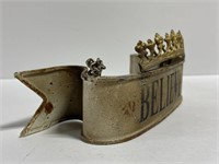 Painted metal believe crown banner on chain