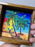 Lobster trap wood framed tile palm tree art