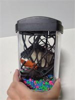 Small aquarium with pump and filler rocks
