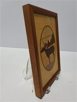 Signed Jeff Nelson deer in nature wood inlay art