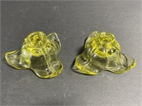 Pair of vintage yellow glass tulip candlesticks