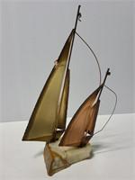 Vinatge signed Mario Jason brass sailboat