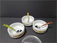 Three vintage Gemco condiment dishes