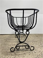 Lot of 2 wrought iron planters
