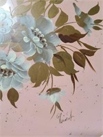 Vintage pink metal serving tray w/ painted flowers