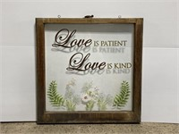 Vintage framed painted glass window