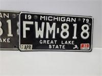 Pair of Michigan 1979 plates w/ 3 bumper stickers