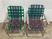 Lot of 2 vintage aluminum lawn chairs