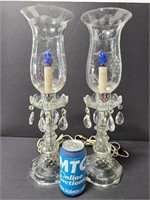 Pair of vintage boudoit lamps w/ etched shades