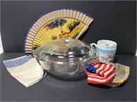 Pyrex covered dish, shave mug, fan and more