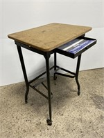 Vintage metal typewriter table w/ wood top