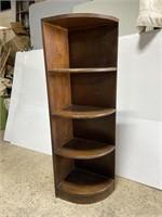 Antique dark wood corner shelf w/ carved trim