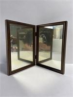 Antique wood folding mirror