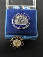 Two Masonic Order lapel hat pins