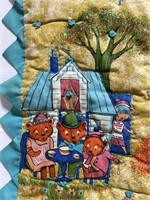 Hand sewn vintage fairytale fabric quilt