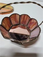 Stained glass trinket bowl and beetle tray