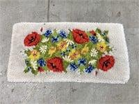 Vintage multi-color floral shag rug